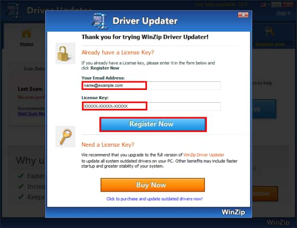 driver updater registration key